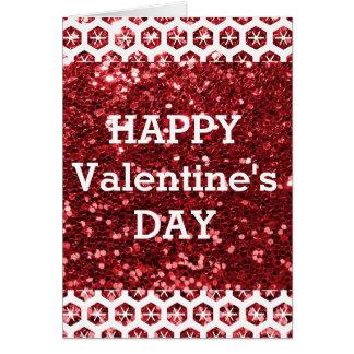 Red Glitter Happy Valentine's Day Card