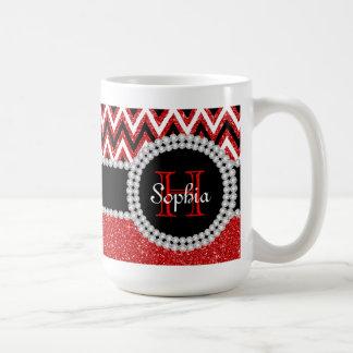 Red Glitter Red Chevron Monogrammed Coffee Mug