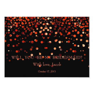 Red Glitter Will You Be My Bridesmaid Invitation