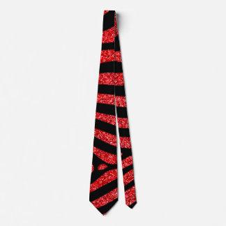 Red Glitter With Black Zebra Stripes Tie