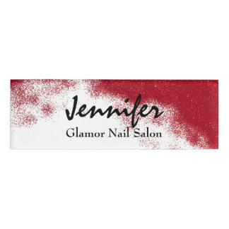 Red Glittery Employee Name Tag