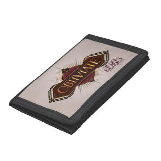 Red & Gold Art Deco Obliviate Spell Graphic Trifold Wallets