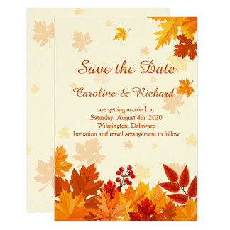 Red & gold autumnal leaves Save the Date Card