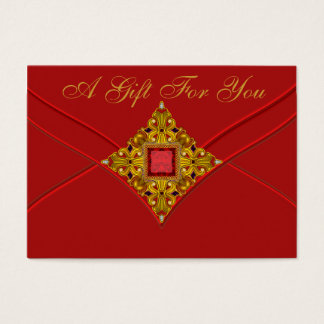 Red Gold Business Gift Certificate Cards