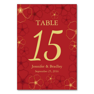 Red & Gold Cherry Blossoms Wedding Table Number Ca Table Card