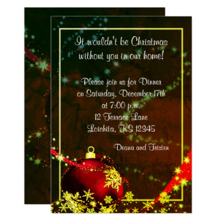 Red&Gold Christmas Ball  Dinner Party Invitation
