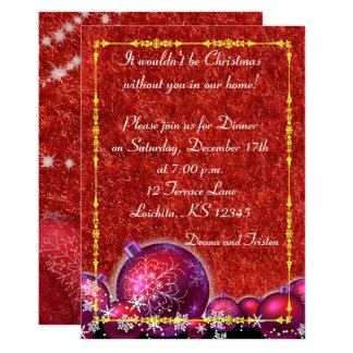 Red Gold Christmas Holiday Dinner Card