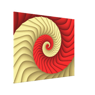 Red Gold Curve Fine Fractal Gallery Wrapped Canvas