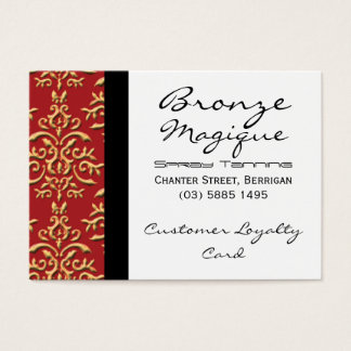 Red Gold Damask Business Customer Loyalty Cards