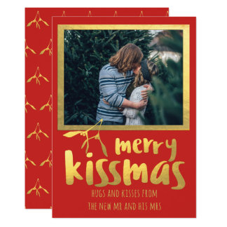 Red Gold Merry Kissmas Holiday Photo Card