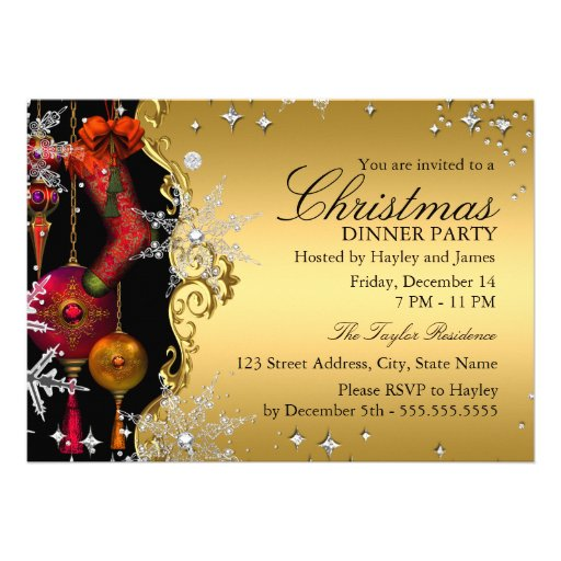 Red Gold Snowflake Christmas Dinner Party 4a Personalized Invites