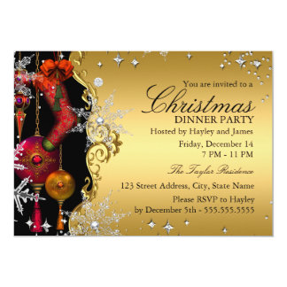 "Red Gold Snowflake Christmas Dinner Party 4a 5"" X 7"" Invitation Card"