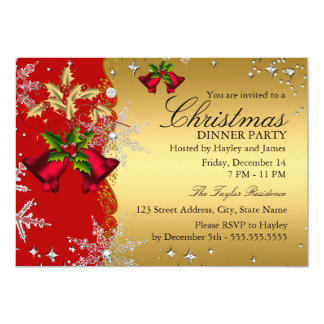 Red Gold Snowflake Christmas Dinner Party 4b Personalized Invite