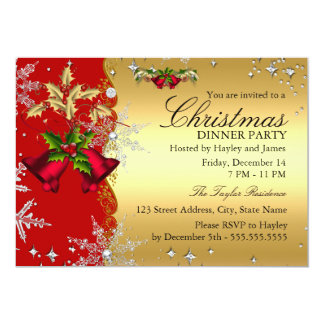 "Red Gold Snowflake Christmas Dinner Party 4c 5"" X 7"" Invitation Card"