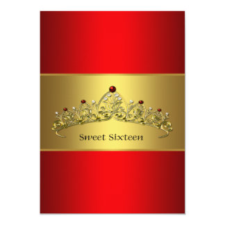Red Gold Tiara Sweet Sixteen Party Invitation