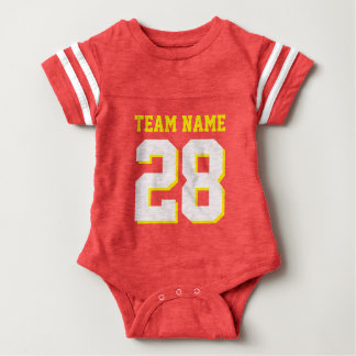 Red Gold Yellow Football Jersey Sports Baby Romper Baby Bodysuit