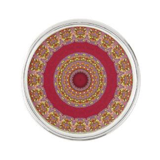 Red Gold Yellow rosettes Mandala Lapel Pin