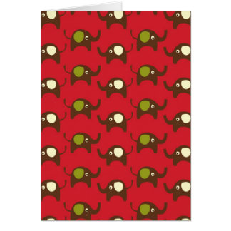 Red good luck elephants pattern print card