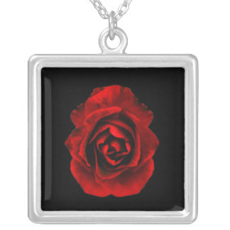 Red Goth Rose Square Pendant Necklace