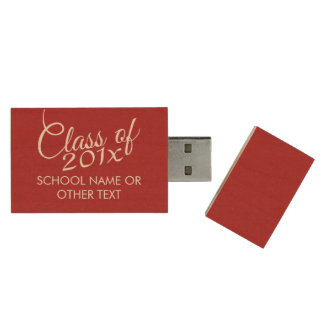 Red Graduation Class of Custom Year and Text Wood USB 2.0 Flash Drive