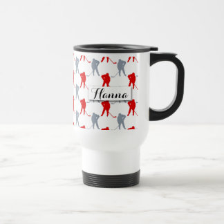 Red Gray Hockey Player Theme Personalized Stainless Steel Travel Mug