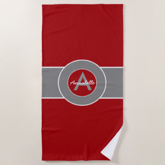 Red Gray Monogram Personalized Beach Towel