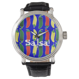Red Green and Yellow Hot Salsa Chilli Peppers Watch