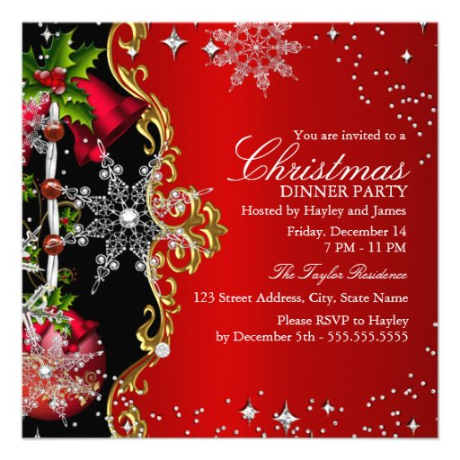 Red green Black Snowflake Christmas Dinner Party 2 Custom Announcement
