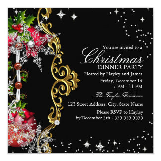 "Red green Black Snowflake Christmas Dinner Party 5.25"" Square Invitation Card"