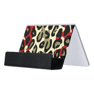 Red Green Camouflage Cheetah Abstract Desk Business Card Holder