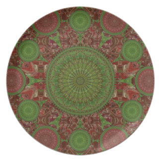 Red & Green Chile Mandala Array Plate