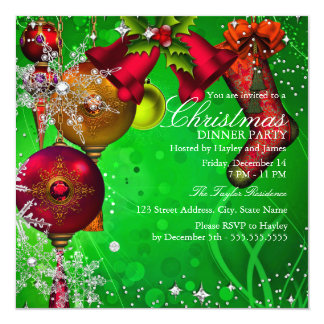 Red green Crystal Snowflake Christmas Dinner Party 13 Cm X 13 Cm Square Invitation Card
