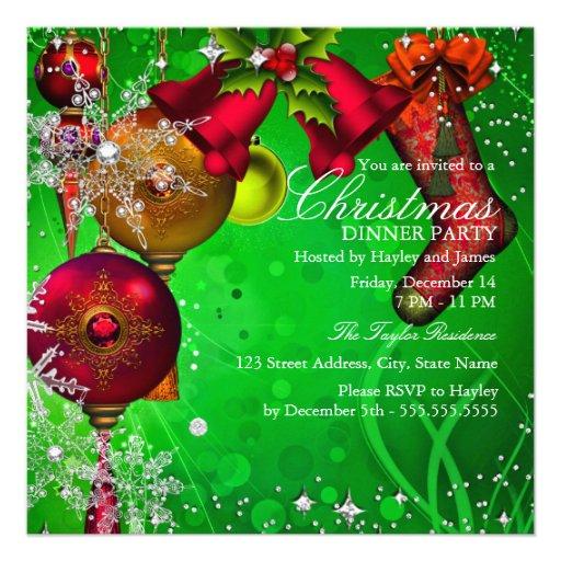 Red green Crystal Snowflake Christmas Dinner Party Custom Invitation