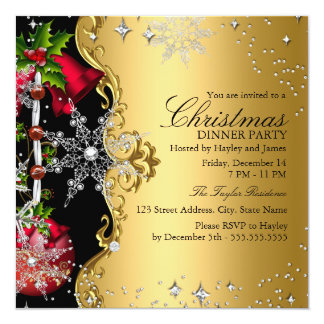 Red green Gold Snowflake Christmas Dinner Party 3 Custom Invitations