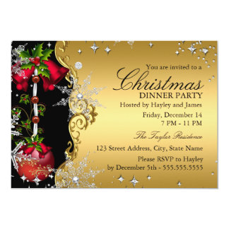 Red green Gold Snowflake Christmas Dinner Party 4 Personalized Invites