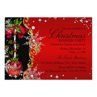 "Red green Gold Snowflake Christmas Dinner Party 5 5"" X 7"" Invitation Card"