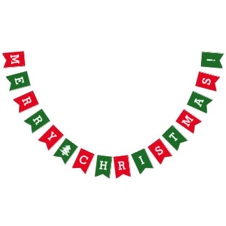 Red & green Merry Christmas Holiday Bunting Flags