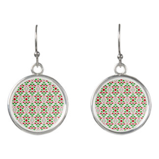 Red Green pattern Drop Earrings