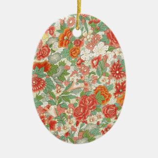 Red & Green Vintage Floral Design Christmas Ornament