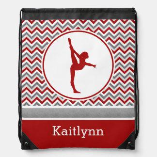 Red / Grey Chevron Stripes Gymnastics w/ Monogram Drawstring Bag
