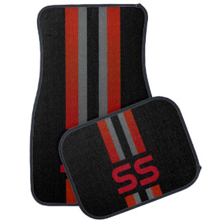 Red, Grey Double Race Stripes | Personalise Car Mat