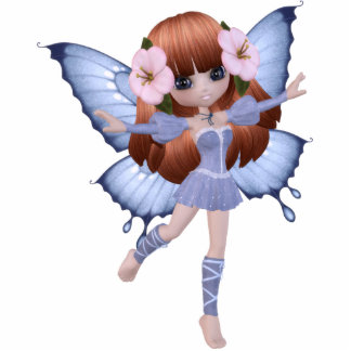Red Hair Princess Butterfly Magnet Photo Sculpture