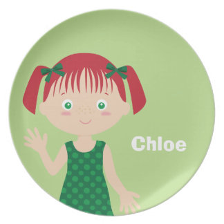 Red Haired Girl | Personalized Plate for Girls