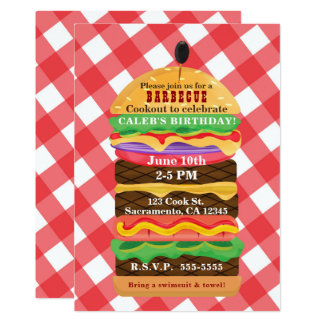 Red Hamburger Summer Cookout Barbecue Invitations