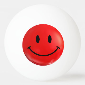 Red Happy Sad Smiley Bi Polar Ping Pong Ball
