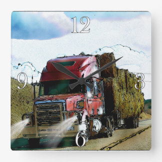 Red Hay Delivery Truck - Lorry and Highway Art Square Wall Clock