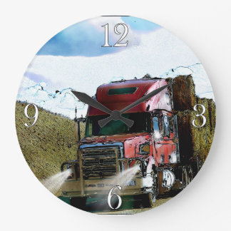 Red Hay Delivery Truck - Lorry and Highway Art Wallclock