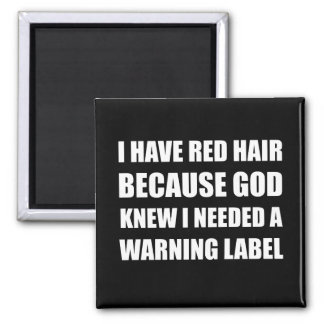Red Head Hair Warning Label Funny Magnet