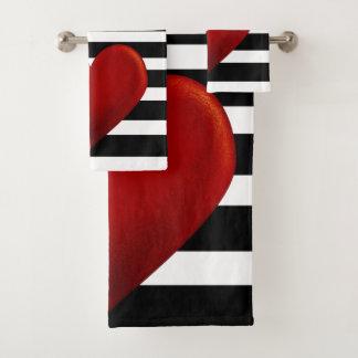 Red Heart Black White Stripes Bath Towel Set