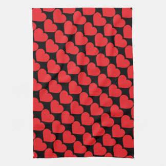 Red heart brigade on black kitchen towel